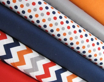 BOY Fat Quarter Bundle - - FQ Bundle - Fabrics by Riley Blake Designs - Small Chevron, Dots, and Solids - 1.5 yards total