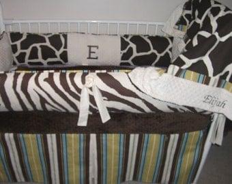 Safari Jungle Giraffe Blue Green Brown Baby bedding Crib set DEPOSIT Down payment only read details