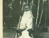 Wee Toddler on Sliding Board 1940s Park Playground Vintage Black and White Photo Photograph