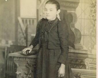 Allentown PA Standing Girl Black Dress Prim Proper Young Woman Pennsylvania Studio Portrait Cabinet Card Photo Antique Photograph
