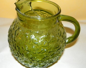 Anchor Hocking Milano 96 ounce Lido Ball Beverage Pitcher with Ice Lip, Olive Green Glass with Textured Design