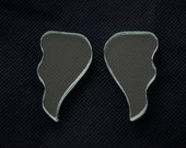 Two (2) pairs of angel wing-shaped hand-cut clear flat single-strength glass. (SMALL)