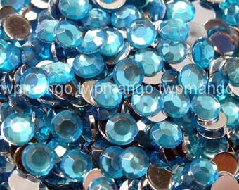1000 3mm Acrylic Round Crystal Rhinestones Flat Back SS12 Turquise N66-4