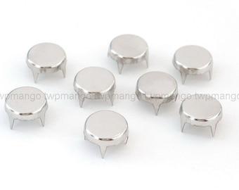 100 Flat Round Metal Studs Spots Nailheads Spikes 8mm N64-12