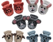 Animal Baby Mittens - PDF Crochet Pattern - Instant Download