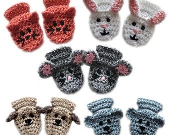 Animal Baby Mittens - PDF Crochet Pattern - Instant Download