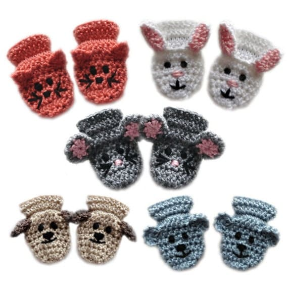 Crochet Pattern For Newborn Baby Sweater : Animal Baby Mittens PDF Crochet Pattern Instant Download