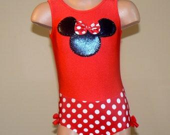 Gymnastics Dance Leotard with Minnie Mouse Applique. Dancewear. Toddlers Leotard. Size 2T -  Girls 12