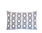 geometric honeycomb black white pillow cover linen graphic 12x18 home decor  flea market trixie