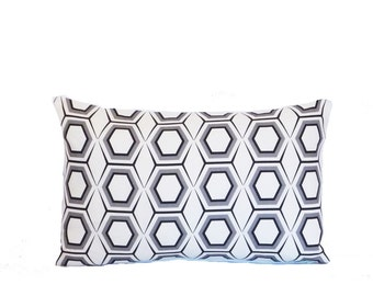 geometric honeycomb black white pillow cover linen graphic 12x18 home decor  flea market trixie