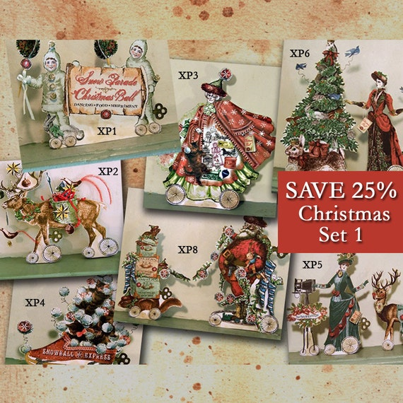 DIY Christmas Decorations Or 3d Christmas Cards - INSTANT Download - Victorian Digital Paper Dolls - Set of 7 XP7D