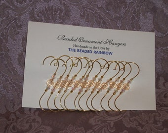 Ornament Hangers/Hooks...Set of 12...Pale Peach Acrylic Faceted Beads