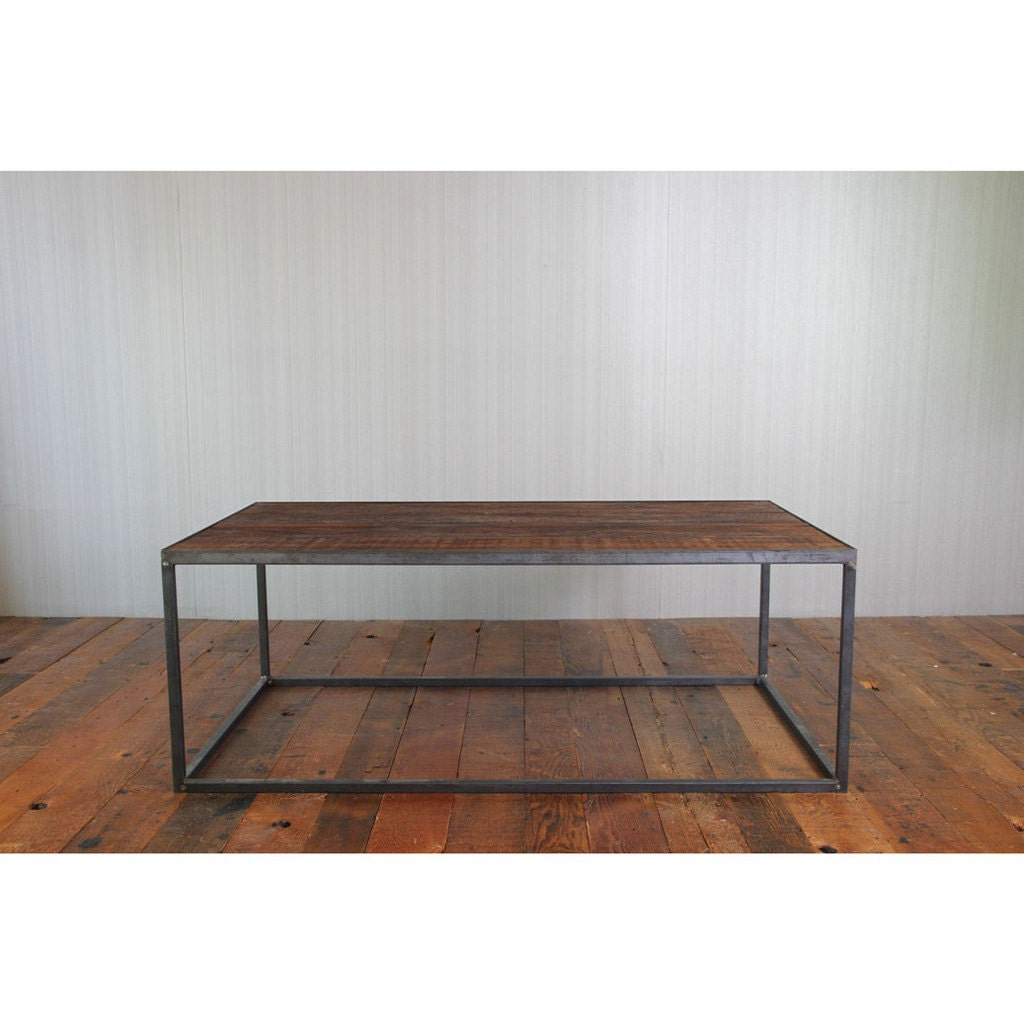 Reclaimed wood and steel coffee table salvage fir by for Reclaimed coffee table
