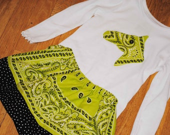 Bandana Cowgirl Birthday Skirt Set Lime Chartreuse Green CUSTOM Size 12m 2 3 4 5 6 Applique Horse Head Cowboy Boot Western Star Bandanna