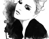 Print from original watercolor and pen fashion illustration, Jessica Durrant - Knocked Up