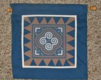 """9"""" by 9"""" hand pieced square with dowel to hang"""
