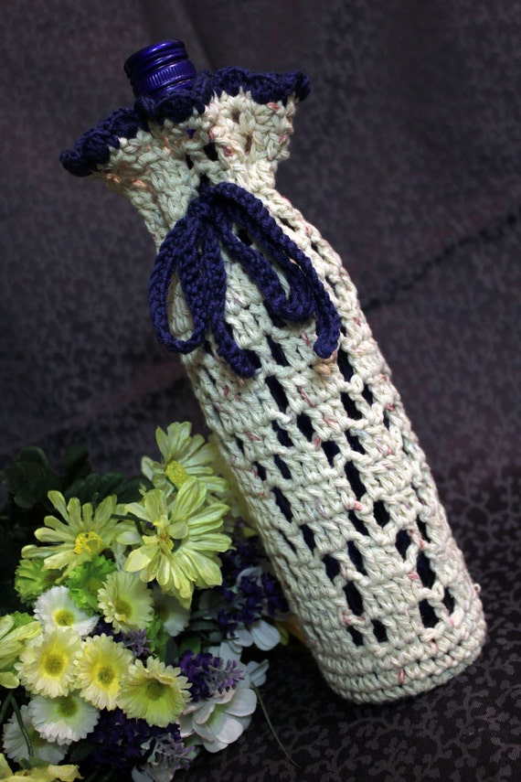 Crochet Tan Wine Bottle Cozy