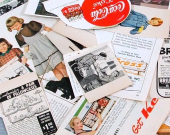 Vintage Grab Bag of Paper Ephemera for Collage or Scrapbooking, Mixed Ads