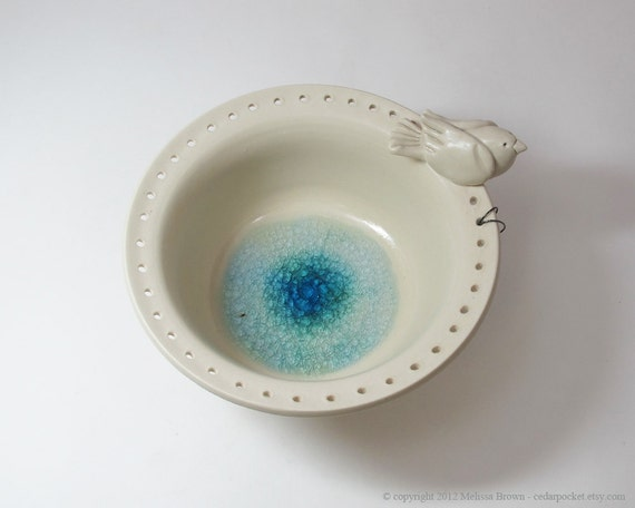 Silky White Earring Bowl with a White Bird and Blue Glass Puddle