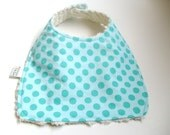 Aqua Ta Dot Bib on Cream Chenille