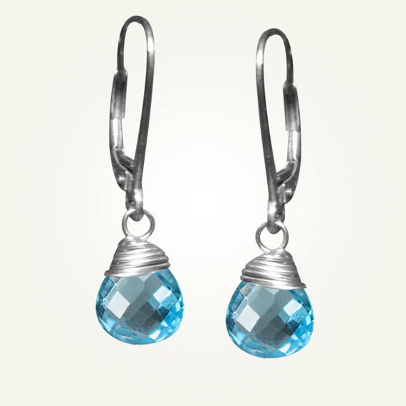 December Birthstone, Blue Topaz Earrings, CANDY DROP EARRINGS in Swiss Blue Topaz.