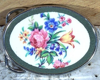 Floral Mosaic Belt Buckle from Recycled China -broken Plate Jewelry