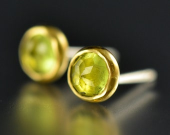 Peridot Stud Earrings - Peridot Gold Studs - Rose Cut Peridot Studs - Gold Gem Studs - Rose Cut Peridot 18 KT Yellow Gold Post Earrings
