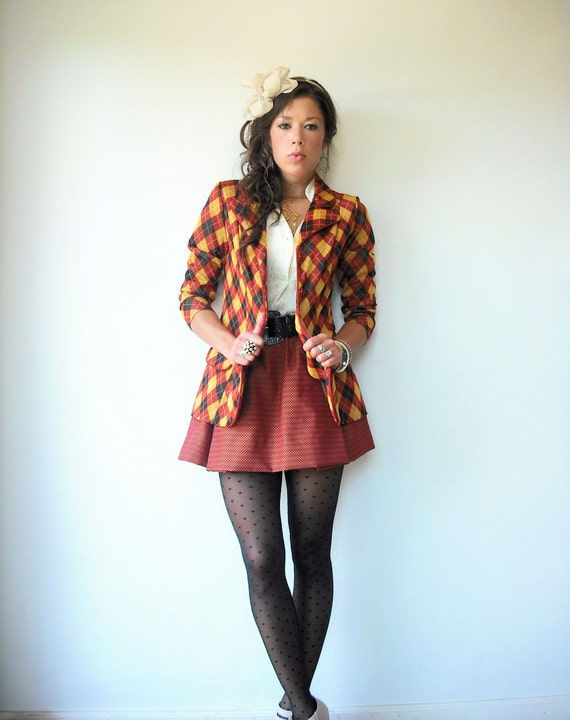 Vintage 70's ARGYLE Blazer / Marigold Black and Rust Blazer / Preppy School Girl Jacket