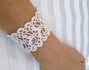 PDF Tutorial  Crochet Pattern,  Lace  Cuff Bracelet,  Wedding Accessory-1