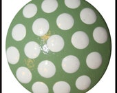 Minty Green with White Polka Dot Dresser Knobs, Drawer Knobs, Cabinet Knobs-FREE Gift Wrap