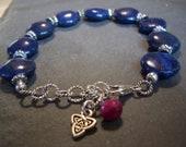 Lapis Lazuli, Pewter, Sterling Bracelet