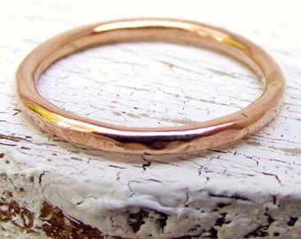 14k Yellow Gold Ring - Stacking Ring - Hammered Texture - Stackable Ring