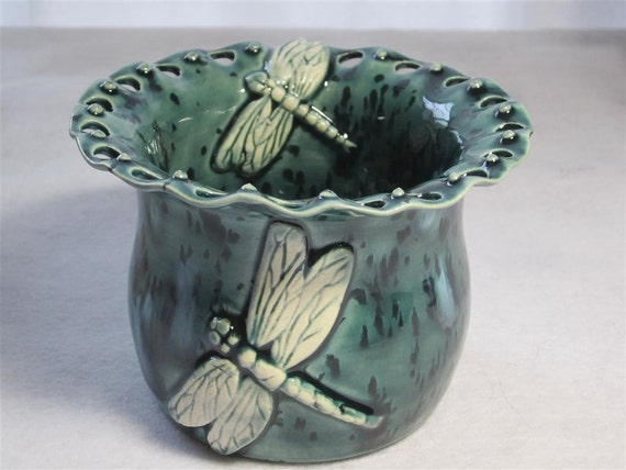 Blue Dragon Fly Earring Holder - Made from Wheel Thrown Pottery (147)