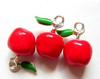 6 Red apple charms enameled teacher earrings bracelet charms 19mm x 15mm 8S(SR6-4),
