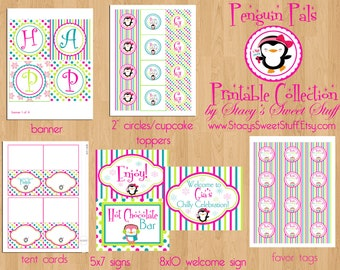 Penguin Party Package, DIY, Printable, Choose 4