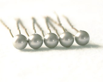 Matt Silver Pearl Hair Pins. Set of 5, 8mm Swarovski Crystal Pearls. Bridal Hair Accessories.