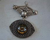 Egyptian Beetle All Seeing Eye Necklace Supply, Winged Steampunk Pendant, Just Add A Chain