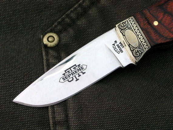 Personalized Hand Engraved Hunting Knife, Utica Adirondack, Fixed Blade Knife