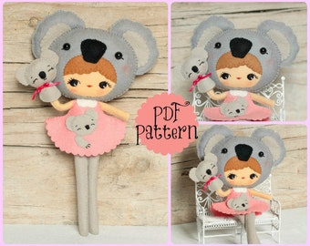 PDF. Koala girl with puppet. Plush Doll Pattern, Softie Pattern, Soft felt Toy Pattern.
