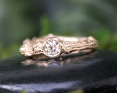 Twig Ring, Oak Branch, 14k Gold and Diamond