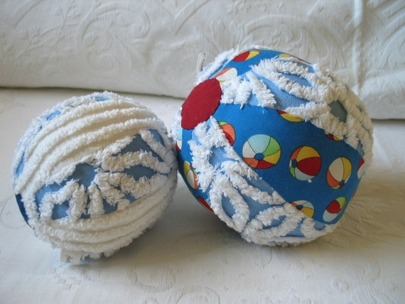 Soft Blue and White Chenille Beach Ball Toy Set