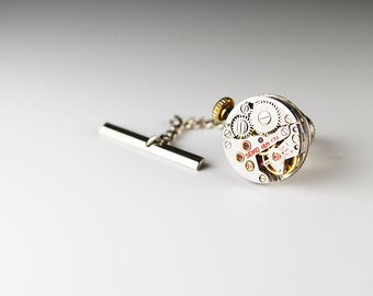 Steampunk Tie Tack Vintage Seiko Ruby Jewel Silver Watch Movement Mens Gear Tie Tac - Accessories by Steampunk Vintage Design