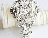 SALE Rhinestone Brooch Component Crystal Teardrop Bridal Hair Comb Shoe Clip Pin Wedding Cake Decoration Invitation BR030
