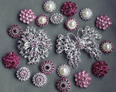 20 Pink Rhinestone Button Brooch Assorted Embellishment Pearl Crystal Brooch Bouquet Supply Light Rose Fuchsia Hot Pink BT153