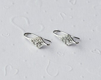 10 pcs Silver Plated Earwire Clear Crystal Rhinestone Fishhook with Open Loop EF003