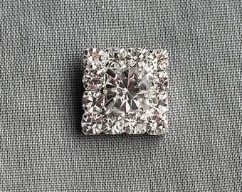 20 Rhinestone Buttons Square Diamante Crystal Hair Flower Clip Wedding Invitation Scrapbooking Ring Pillow Napkin Ring BT054