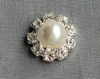 5 Rhinestone Buttons Silver Round Pearl Crystal Hair Flower Comb Clip Wedding Invitation Scrapbooking Napkin Ring BT108