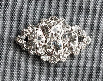 5 Rhinestone Buttons Diamond Square Diamante Crystal Flower Comb Wedding Invitation Scrapbooking Ring Pillow Napkin Ring BT090