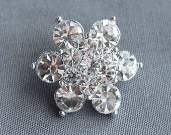 "10 Round 7/8"" (22mm) Diamante Crystal Rhinestone Button Hair Flower Comb Wedding Invitation Bouquet Jewelry Ring BT048"
