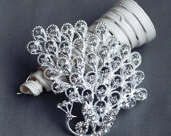 Rhinestone Brooch Component Crystal Peacock Hair Comb Shoe Clip Pin Wedding Cake Decoration BR141